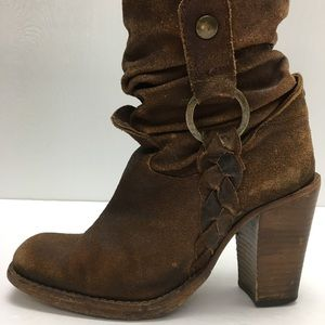 Vintage Brown Suede Square Toe Western Boots